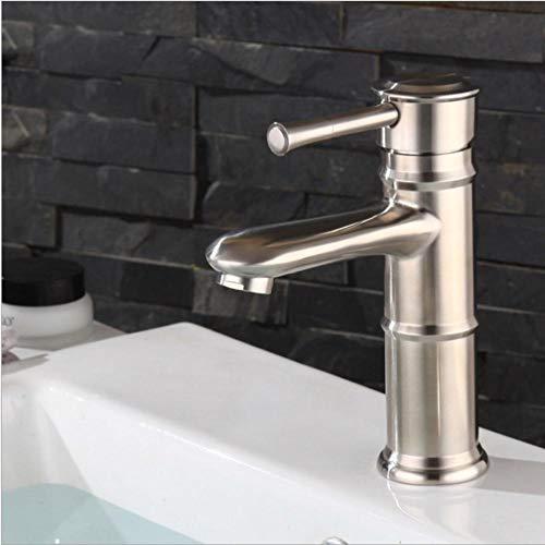 Grifo de bambú retro de acero inoxidable 304 para baño, lavabo de un solo orificio, lavabo debajo del mostrador, grifo cepillado