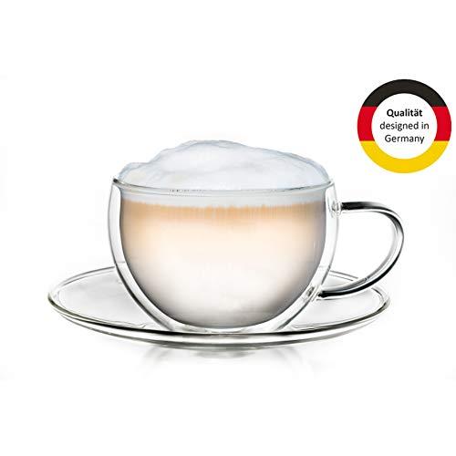 Creano Thermo-Tasse, doppelwandige Tee-/Latte Macchiato Cappuccino Tasse mit Untersetzer | 250 ml