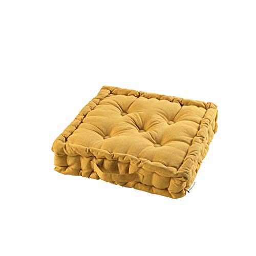TIENDAEURASIA® Cojines de Suelo - 100% Algodón Lisa - Ideal para sillas, Bancos, palets, Suelos - Uso Interior y Exterior (Mostaza, 45 X 45 x 10 cm)