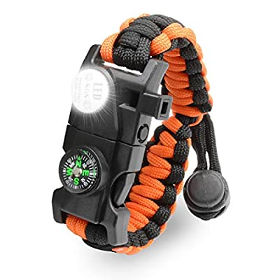 LeMotech 20 in 1 Adjustable Paracord Survival Bracelet, Tactical Emergency Gear Kit Includes SOS LED Flashlight, Compass, Rescue Whistle and Fire Starter-Outdoor Hiking Camping (Orange Black)