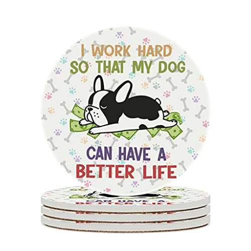 KittyliNO5 Posavasos redondo de cerámica con diseño de perro bulldog negro carlino 4/6 unidades posavasos con tapón de corcho para casa, cocina u oficina blanco 4 unidades