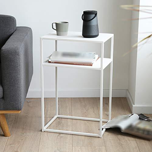 BIGMALL Einfacher Beistelltisch/schmiedeeiserner Couchtisch, Metallrahmen, für Wohnzimmer, Schlafzimmer, Balkon, Rechteck (Schwarz)
