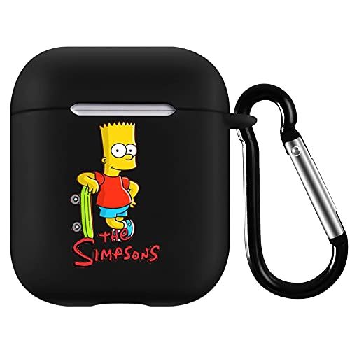 AirPods Case Cover Compatible with The Simpsons Bart Simpson, Airpods 2 and 1 Silicone Protective Case Dust Guard Shockproof Cover Skin with Carabiner(forThe Simpsons)