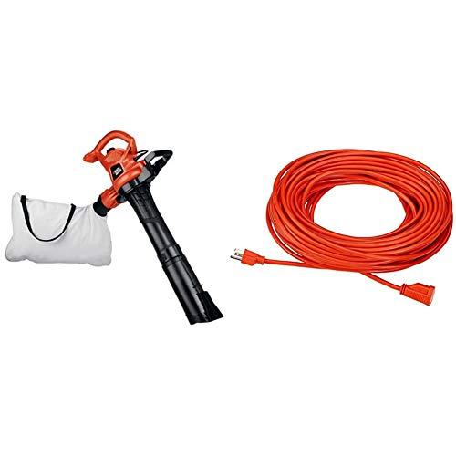 BLACK+DECKER 3-in-1 Electric Leaf Blower, Leaf Vacuum, Mulcher, 12-Amp (BV3600) & AmazonBasics 16/3 Vinyl Outdoor Extension Cord   Orange, 100-Foot