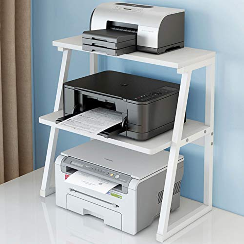 Printer Stands 2-Tier Printer Stand with Storage Wood Desk Organizer for Home/Office,60×34×64cm Mobile Printer Cart (Color : White)
