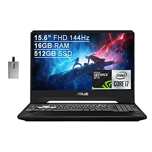 "2021 Asus TUF Gaming FX505 15.6"" FHD 144Hz Laptop Computer, 9th Gen Intel Core i7-9750H, 16GB RAM, 512GB PCIe SSD, RGB Backlit KB, HD webcam, GeForce GTX 1650 GPU, Win10, Black, 32GB SnowBell USB Card"