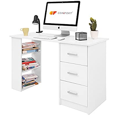 REVERSIBLE: Mesa escritorio reversible, móntala a tu gusto. Los estantes y los cajones pueden colocarse en el lado que necesites, ¡son intercambiables! Todas las posibilidades a tu alcance. ESTILO: Mesa de trabajo sencilla, minimalista y funcional co...