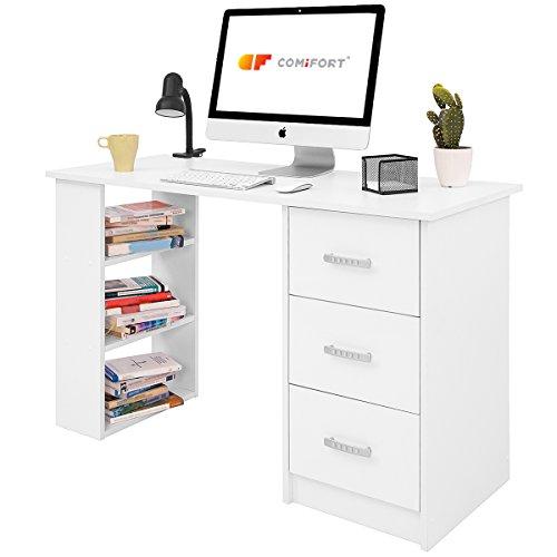 COMIFORT T04B – Escritorio con Cajones y Estantes, Mesa De Oficina, Escritorios De Despacho, 120x49x72 Cm, Color Blanc