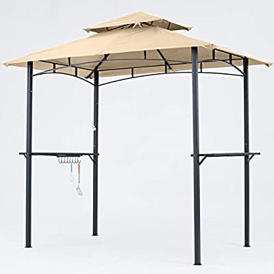 MASTERCANOPY Grill Gazebo 8 x 5 Double Tiered Outdoor BBQ Gazebo Canopy with LED Light
