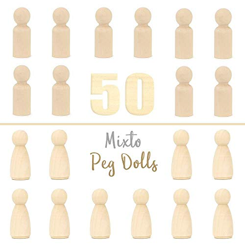 Ruby - Peg doll, holzfiguren Mann und Frau, spielfiguren zum bemalen basteln Holz (Mann/Frau, 5,3 cm)