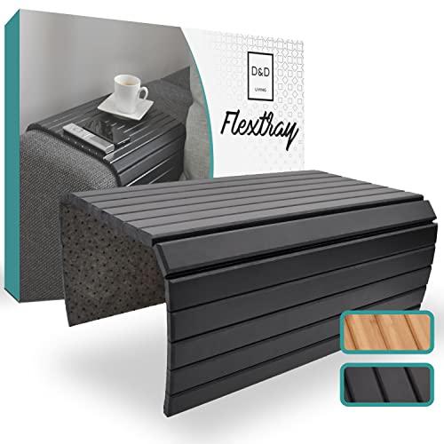 D&D Living® Bandejas brazos de sofá   Bandeja flexible para apoyabrazos de madera natural (bandeja con 50x35 cm, negra)   Bandeja sofá reposabrazos