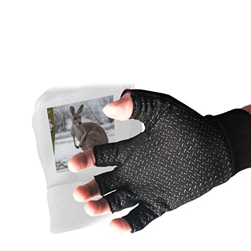 A Kangaroo Stand Up In Grasslands Fingerless Gloves Anti Slip Shock Gloves Absorbing Padded Breathable Gloves Split Finger Dirt Bike Gloves for Women&Men