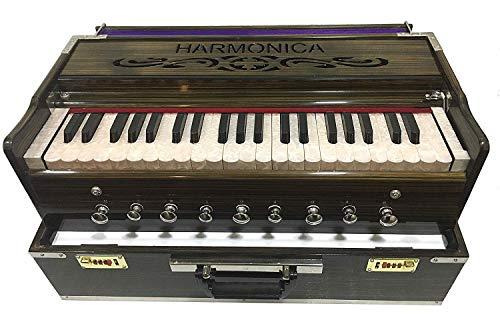 Fasherati MUSICALS 9 Stopper, Portable Harmonium Chudidaar Bellow 42 key 2 Reed Bass Male Backward Coupler (Portable Harmonium)