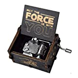 fezlens Wood Music Boxes Star Wars Antique Engraved Wooden Musical Box Gifts for Birthday/Christmas/Valentine's Day/Thanksgiving Days Hand-Operated Present Kid Toys (Black)