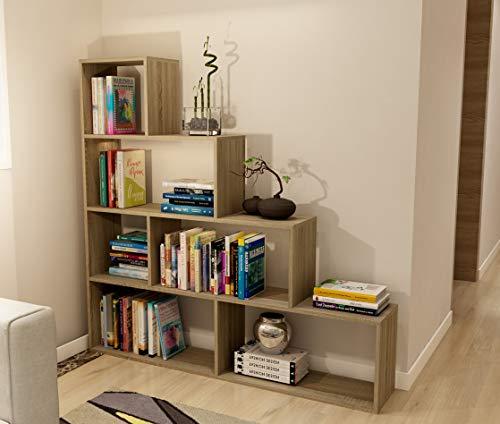 Dormidan- Estantería librería decoración, en Forma de Escalera, 140 x 136 x 25 cm (Roble) …