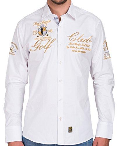 Redbridge RBC by Cipo & Baxx Herren Hemd Regular Fit mit Stickerei Freizeithemd Bügelfrei (4XL, Weiß)