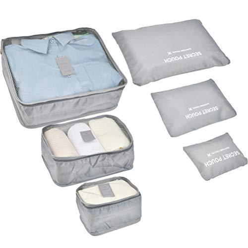 6 Set Reisegepäck Reisetaschen Packwürfel Verpackung Packing Cubes Koffer Aufbewahrungstasche Kleidertaschen Urlaub Tragbarer Schminktaschen Reißverschluss Reisetasche wasserdichte Kompression