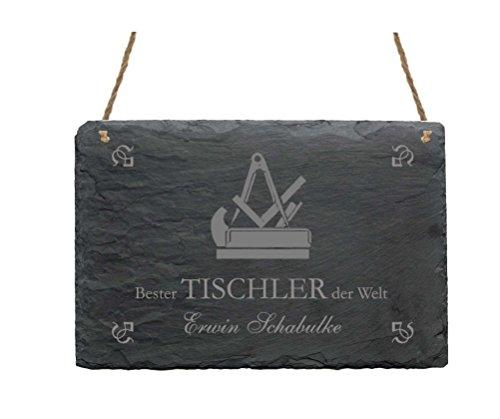Schiefertafel « BESTER TISCHLER DER WELT » Schild mit persönlichem Namen und Motiv - Türschild - Schreiner Handwerk