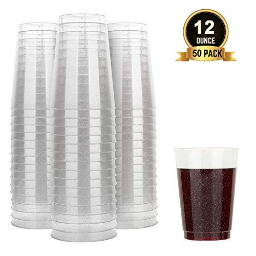 TOROTON 50 Stück Plastik Becher mit Glitzer, 350ml Wiederverwendbare und recycelbare Weinbecher, für Grillen Picknicks Camping Hochzeit Geburtstage - Silber