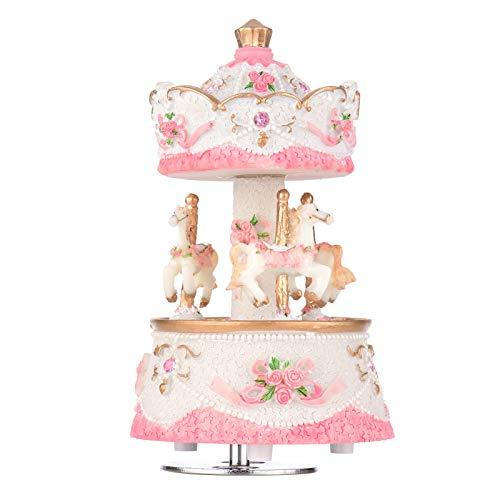Andoer Carillon per carosello a 3 cavalli opera d'arte / Castello della melodia del regalo Rosa