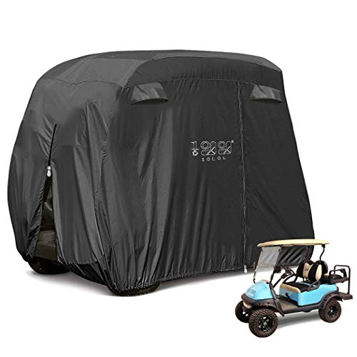 10L0L 4 Passenger Golf Cart Cover Fits EZGO, Club Car and Yamaha, 400D Waterproof with Extra PVC Coating Sunproof Dustproof Black Army Green