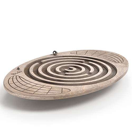 Bodo Maze Balance Board - Wood Wobble Board for Kids, Toddlers, Teens & Adults for Exercise Training, Physical Therapy, Bodyweight Fitness, Skiing, Surfing, Snowboarding, Skateboarding with Labyrinth