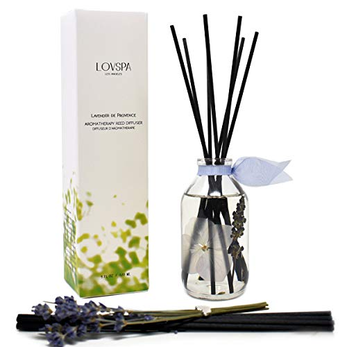 LOVSPA Lavender De Provence Essential Oil Reed Diffuser and Sticks Set - Calming Aromatherapy for Stress Relief and Relaxation - Real Lavender Stems and Hydrangea Flowers - Made in The USA