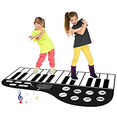 """M SANMERSEN Kids Piano Mat 71""""×38.9"""" Piano Keyboard Play Mat 24 Keys Floor Piano Mat Music Dance Mat with Play -Record -Playback -Demo Mode for Girls, Boys,Children from TWFRIC"""