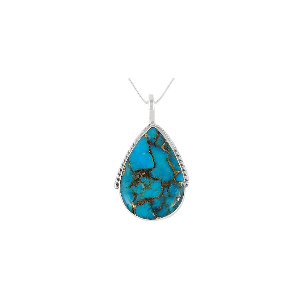 Southwestern Blue Gold Turquoise Pendant Necklace in Sterling Silver