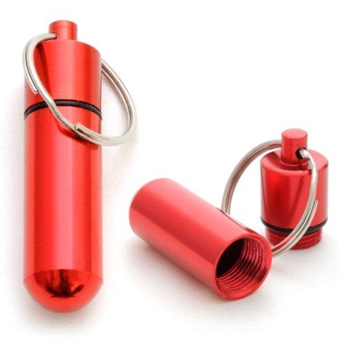 Ganzoo Pillen-Dose im 2er Set, Pillen-Box, Aluminium-Kapsel, Schlüssel-Anhänger Mini, wasserdicht, Farbe: rot, Höhe: 48 mm