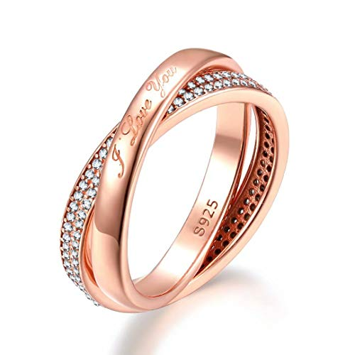 Presentski 925 Sterling Silber Rosé Gold vergoldet Love Ring mit Zirkonia Verlobung Ring 58