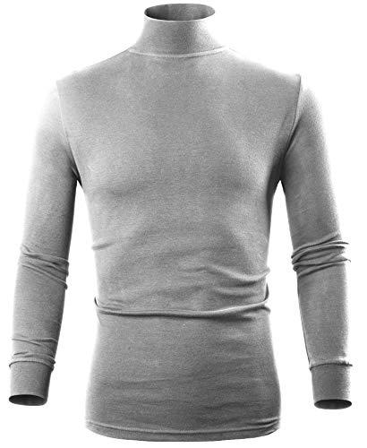 Grey Mock Turtleneck Men 100% Cotton Long Sleeve Turtleneck Bodysuit, Boy Turtleneck Thermal Underwear,S