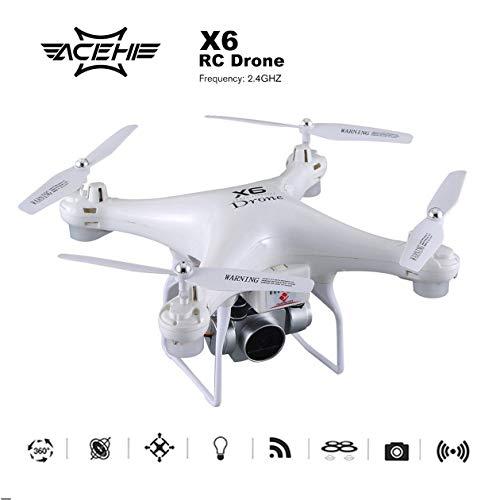 X6 RC FPV Drone avec caméra UV 1080 P 5MP Peinture UV/module de batterie Avion hélicoptère WiFi Transmission en temps réel (couleur: blanc)