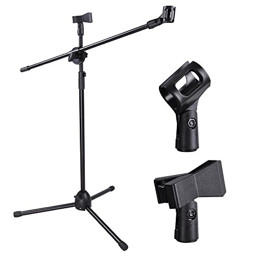 ReaseJoy Lightweight Foldable Microphone Tripod Height Adjustable Stand & Boom Arm & 2 Mic Clips Black