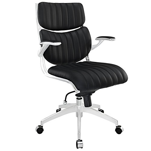 Modway Escape Ribbed Faux Leather Desk Office Chair