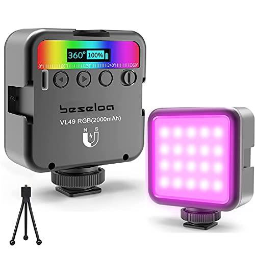 Mini LED RGB Video Light,Video Light per Smartphone Telecamera Pocket Vlog Light 2000mAh Batteria,2500-9500K Fotografia Leggero Compatibile con DSLR Smartphone Camera