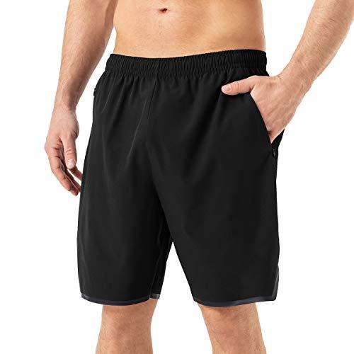Mabove Herren Sport Shorts Kurze Hosen Laufhose Sporthose mit Reißverschluss Taschen für Running Outdoor Fitness Gym,Schnell Trocknend,Leicht(Schwarz,US Size XL/EU Size 2XL)
