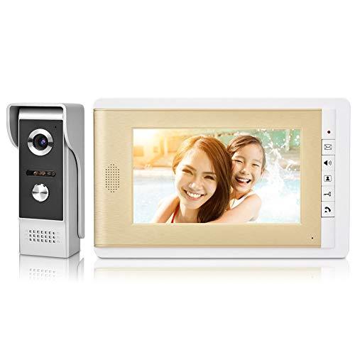 Sistema de teléfono con video portero automático de 7 pulgadas Cámara de timbre con video de visión nocturna por infrarrojos HD con función de control de bloqueo eléctrico, intercomunicador(US)