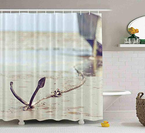 Cortina de ducha, cortina de ducha transparente, linda cortina de ducha, conjunto de cortina de ducha para bebé, anclada en el barco de la costa en el baño, con ganchos, cortina de ducha para baño, co