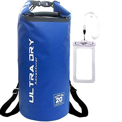 Premium Waterproof Bag, Backpack, Sack with phone dry bag, adjustable Padded Shoulder Straps, Perfect for Kayaking/Boating/Canoeing/Fishing/Rafting/Swimming/Camping/Snowboarding (blue, 30 L)