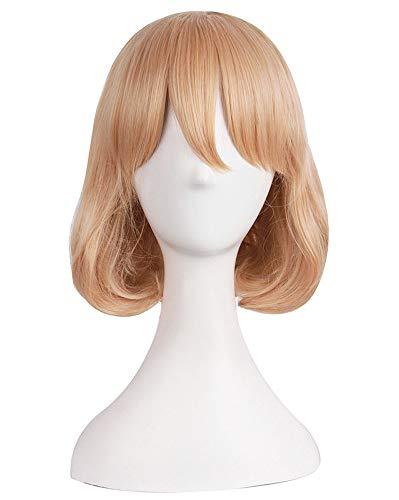 JapanAttitude Perruque mi-Longue Blond vénitien 35 cm avec mèche, Cosplay déguisement