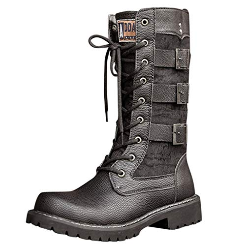 Suoxo Men Shoes Men's Black Tide High Boots Casual Engineer Lace Up Buckle Leather Motorcycle Shoes US:11.5 Black 2