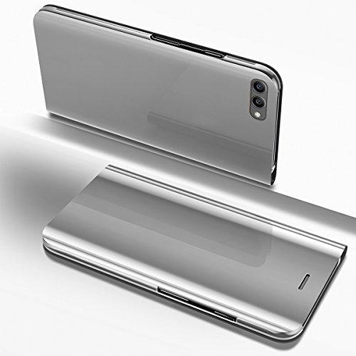 Ysimee Coque Huawei Honor V10/View 10, Étui Folio à Rabat Clear View Case Couleur Unie Translucide Miroir Housse en PC Fonction Support Mince Flip Portefeuille Coque pour Huawei Honor V10, Argent