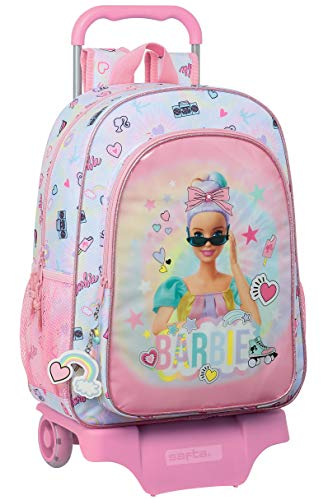 safta Mochila Escolar Grande con Carro de Barbie Girl Power, 330x150x420mm