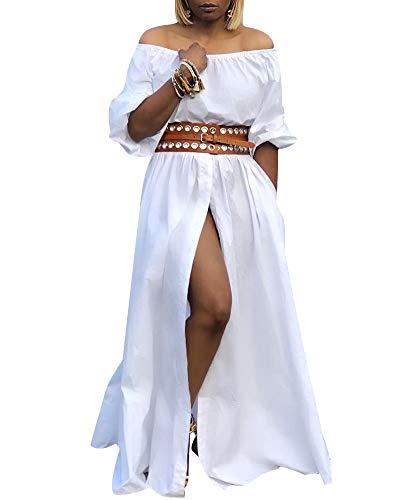 Fastkoala Off The Shoulder Dress - Puffy Sleeve High Slit Button Down Swing Casual Long Maxi Dresses White Medium