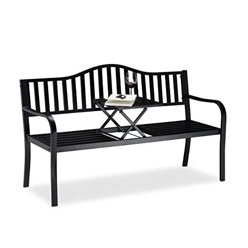 Relaxdays Gartenbank mit Klapptisch, 3-Sitzer, integrierte Tischablage, robuste Sitzbank, Schwarz, 90 x 150 x 57,5 cm