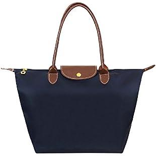 ZhengYue Women's Stylish Waterproof Zipper Tote Bag Handbag Nylon Travel Shoulder Beach Messenger Bags Ladies Shopping Fold Bag Casual Bags Fold Bag Navy Blue Medium
