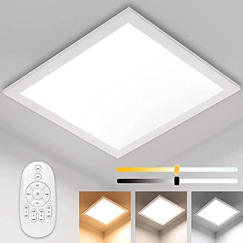 Panel LED Lámpara de Techo 30x30 cm, Regulable Plafón LED Techo Cuadrado con Mando a Distancia, Blanco Cálido 2700K-6500K Luz de Techo Para Dormitorio Baño Cocina Pasillo Comedor Sala Balcón