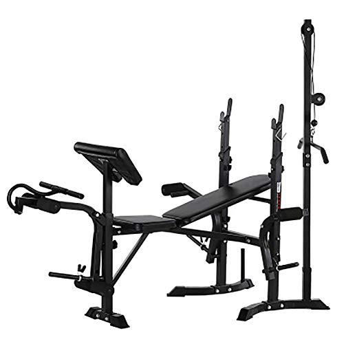 Banco de pesas olímpico, multifunción, ajustable con rizo de predicador, desarrollador de piernas para ejercicio en interiores