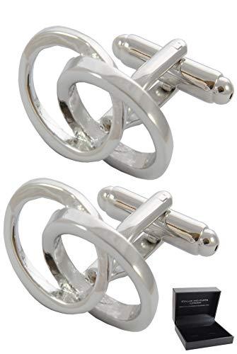 COLLAR AND CUFFS LONDON - Boutons de Manchette avec Boite-Cadeau - Grand Qualité - Ovales Imbriqués - Design Classique - Infini - Laiton - Couleur Arg